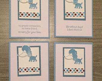 Poodle Dog Notecards - Blank inside - set of 4 cards pet sympathy