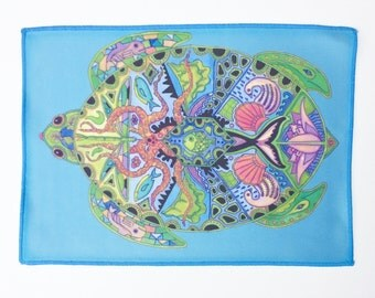 Microfiber Cloth Wipes Sea Turtle Animal Spirits by Sue Coccia Native American Art Microfiber for Glasses, Computer Screens, Ipad, & Phones