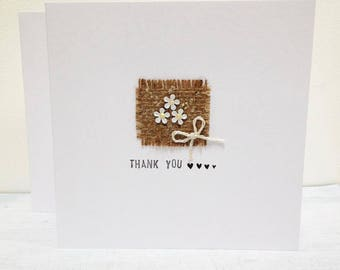 Thank You Cards, Pack of 5, Handmade rustic wedding cards, Personalised thank you cards, wedding note cards, Daisy cards, bridesmaid cards.