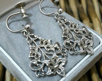 Vintage solid silver screw on earrings, lovely art nouveau design, chandelier