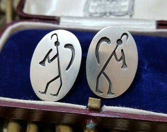 Vintage sterling silver stud earrings, native american design, overlay kokopelli