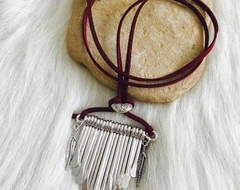 Necklace - Native, Bohemian, Gypsy, Red Suede Cord and Feather Charms