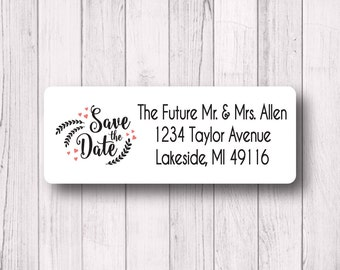 Save the Date Return Address Labels - Personalized Wedding, Engagement, or Save the Date Mailing Labels - Matte White, Kraft, or Clear Gloss