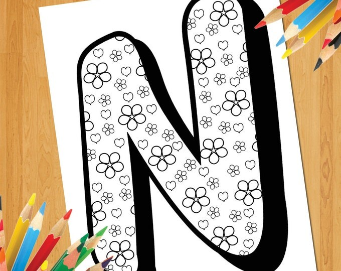 Alphabet Coloring N, Letter N Coloring Page, Letter N Print, Letter N Poster, Alphabet Printable N, Adult Coloring N Letter, Kids Coloring N