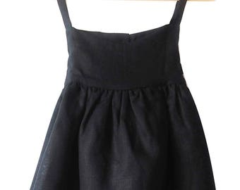Charcoal Ava linen dress