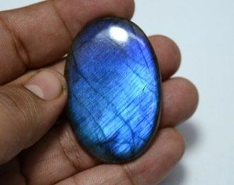 93.40 Carats Blue Fire Labradorite Cabochon Gemstone, Oval Shape, Black Rainbow, Gemstone For Pendant, 32x48mm
