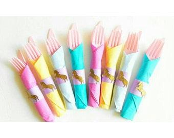 Unicorn Birthday. Unicorn Party. Unicorn Tableware. Pastel Unicorn. Cutlery. Table Setting. Unicorn Theme. Unicorn Decor