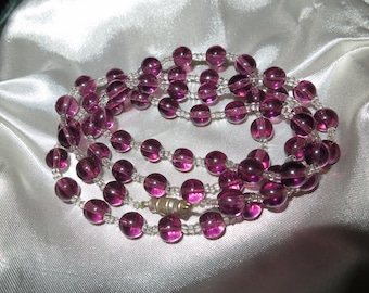 Vintage 1950s purple and clear glass necklace