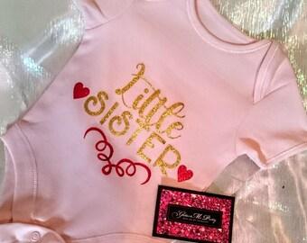 Glitter Baby Onesie - Little Sister