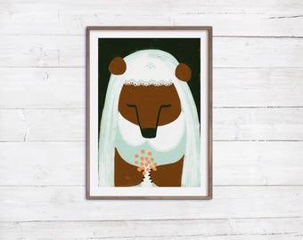 Frau Bär A4 Print Poster Illustration Malerei Tierportrait Braut Hochzeit Blumen Schleier Kleid bunte Wanddeko Deko
