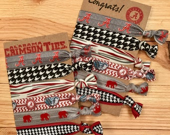 Graduation gift, RollTide hair ties, Alabama hair ties, elephant themed hair ties, perfect gift for college student, alabama wristlet