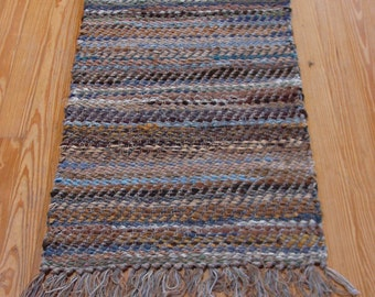Handwoven Rag Rug, blue & brown