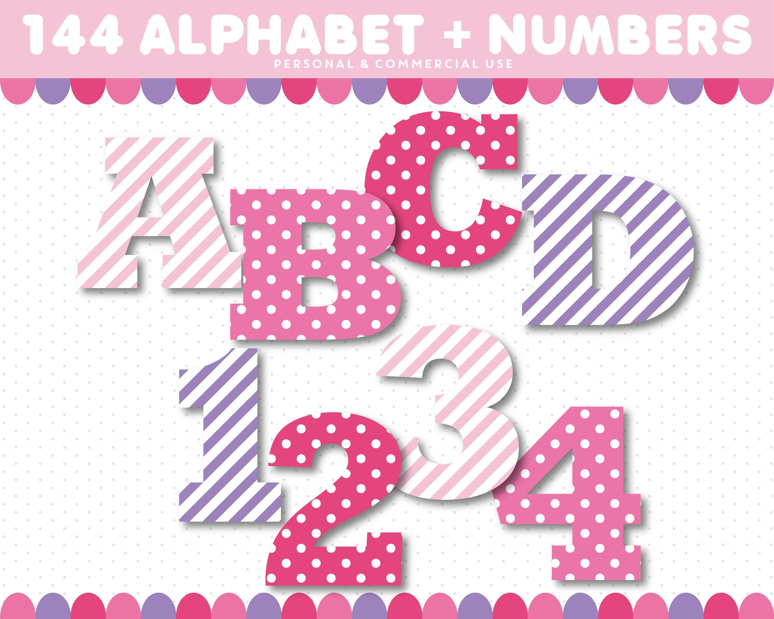 ABC Clipart, Pink And Purple Alphabet Clipart With Polka