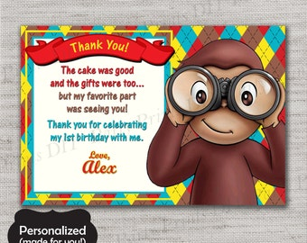 Curious George Thank You Card,Curious George Birthday Thank You Card,JPG file,Birthday Thank You Card,Thank You Card,Curious George,DPP81