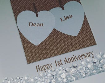 Wedding Anniversary Frame, First Anniversary, 1st Anniversary, Paper, Personalised Keepsake Gift