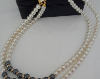 Vintage necklace of pearls and Hematite 80 years