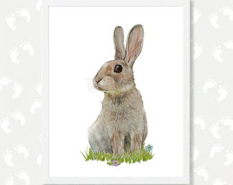 Rabbit Print Woodlands Nursery Art Bunny Rabbit Wall Decor Baby Animal Print Rabbit Watercolor Painting Instant Download Digital Download