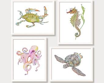 Beach Digital Art Ocean Art Print Set Ocean Nursery Decor Downloadable Animal Prints Nursery Printable Watercolor Digital Download Octopus