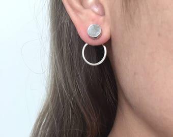 Double circle back earrings