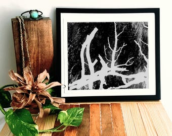 Black and White Branches Ink Painting Print