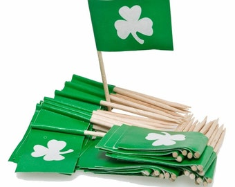 50 Ct. St. Patrick's Day Cupcake Picks, Shamrock Decor, St Pattys Party Supplies, Irish Party Supplies, St. Patrick's Day Party Favors