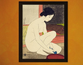 Japanese Art Print Woman At Her Bath 1915 H.goyo Ukiyo-e Fine Art Print Retro Wall Home Design(243790228)