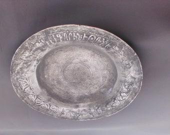 Pewter plate, ethnic, Turkey, with message written, good condition, beautiful, rustic