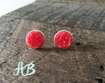 Druzy Earring-  Coral