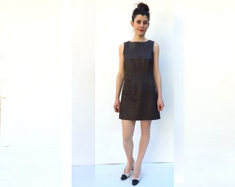 1990s 60s Shape Leather Mini Dress
