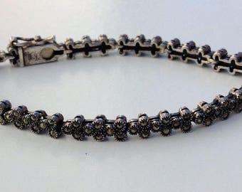 Cute Sparkly vintage Sterling Silver studded Marcasite Link Bracelet