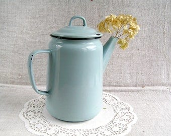 Aqua Grey Enamel Kettle / Old Style Kettle / Soviet Vintage Enamel Coffee Pot / French Country Rustic Wedding / Retro Kitchen Decor USSR 60s