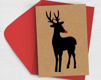 SALE 20% off - Rudolph Christmas Card - Reindeer Illustration Card