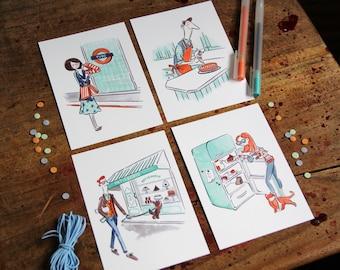 Love Cake - Set of 4 Postcards