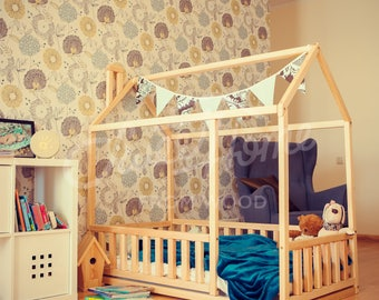 Children bed 140x70/ 90cm, Montessori bed, Kid bed, Children crib, Frame bed, Toddler bed, house bed, bed house waldorf toy unique bed SLATS