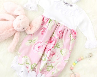 Chic Roses Floral Pink Vintage Ruffled Baby Girl Newborn Layette Gown | Baby Girl Going Home Outfit | White Eyelet Ruffled Baby Gown