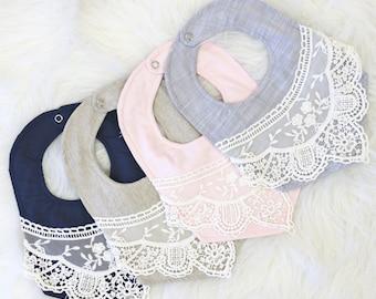 Hazel's Vintage Lace Baby Girl Bib  | Navy, Linen, Gray, Blush, Sweet, Pastel, Lace, Vintage Baby Girl Bib