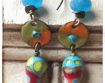 Lampwork Glass Earrings, Enameled Copper Earrings, Opposites Attract Earrings