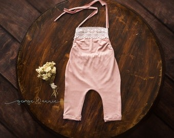 Louise Little Girl Romper - Newborn, 6-9 Months or 12 Months - Photography Prop - Soft Pink