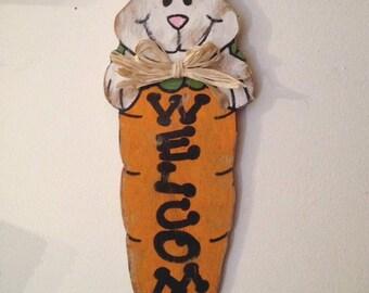 Welcome sign vintage shabby farmhouse wood door hanger Easter spring fall summer rabbit