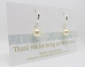 Thank You For Being My Bridesmaid Gift - Bridesmaid Pearl Earrings - Single Pearl Earings - Light Cream Pearl Earrings - Bridesmaid Earrings