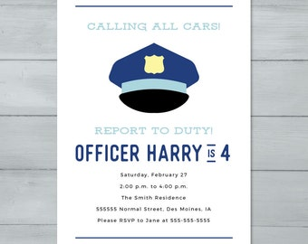 Police Officer Birthday Party Invitation  |  Police Cop Birthday Invite  |  Police Hat Invitation |  Cop Invitation