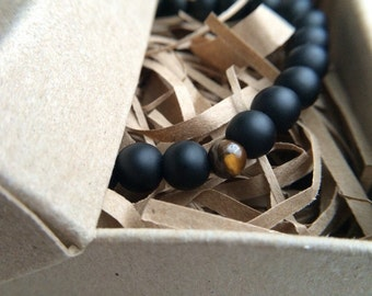 Bracelet with Black Onyx stone and one stone Tiger eye, black matte barslet