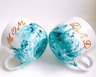 Mug for new mom new dad custom turquoise and gold gift unique and custom mother's day dad's day