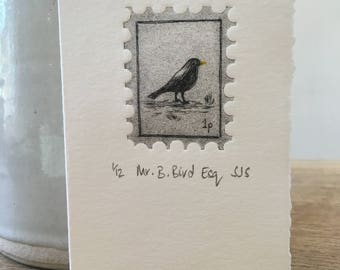 Hand Printed Blackbird Card, Handmade Blackbird Card, Blackbird Print, Single Printed card, bird card, Blackbird, Individual Bird Card