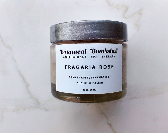 Fragaria Rose Strawberry Hibiscus Rose AHA Milk Polish /Sugar Scrub/Microdermabrasion/Brightening/Lotion Exfoliant 2.3 oz / 68 mL