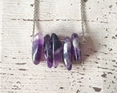 Amethyst bar necklace natural amethyst necklace gemstone bar necklace stone chip necklace