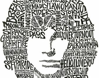 JIM MORRISON of The DOORS - Song Titles Text Cloud Portrait - 60's Psychedelic Rock N Roll Music Icon