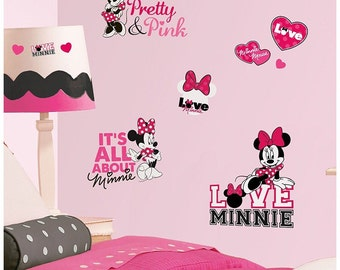 Minnie Mouse birthday/bedroom stick and peel wall decal decoration