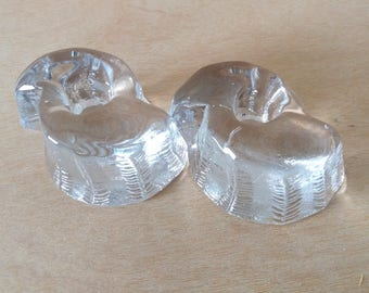Vintage heavy glass candle holders, votives