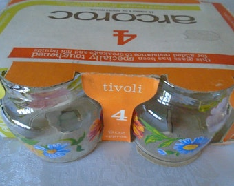 4 x floral glasses acoroc in original packaging.